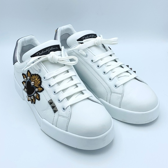 Dolce & Gabbana Other - DOLCE & GABBANA Men's White Leather Heart Sneakers